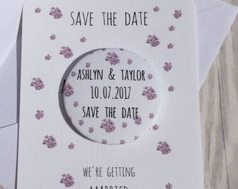 Save the Date Fridge Magnets Lavender China Flowers Sample