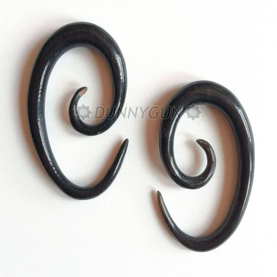 0G Pair Horn Oval Spirals Gauged Plugs Wood Body Piercing Jewelry Earrings 0 gauge