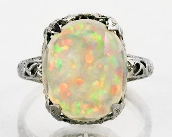 Antique Ring - Antique 1910's 14k White Gold Crystal Opal Ring