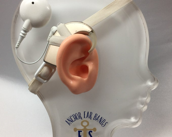 Ivory - Cochlear Implant Heaband - Adjustable Length - Silicone Grip Sleeve - Non Slip Grip  - Unilateral, Bilateral, Bimodal options
