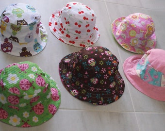 Baby Bucket Hats - Sun hat - infant Size Medium - 6-12 months cotton handmade. Summer gift