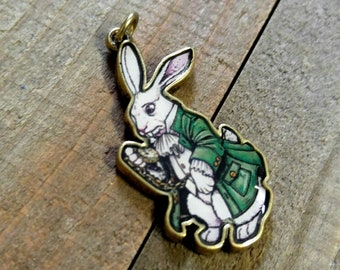 White Rabbit Charm White Rabbit Pendant Alice in Wonderland Charm Rabbit Charm Rabbit Pendant Enamel Charm