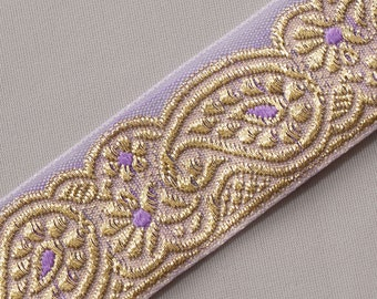 "Jacquard, Organza Trim with Paisleys. Sparkling Gold On Lavende Sewing Craft DIY  1"" wide 3 yards"