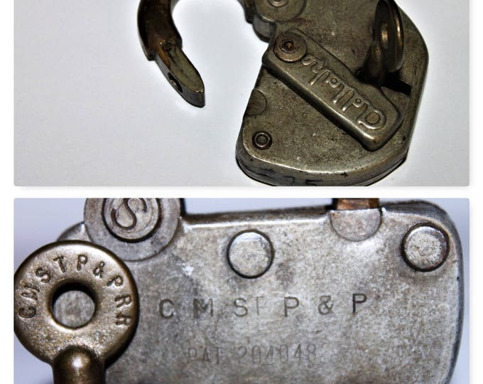 Vintage Adlake Railroad Switch Padlock C M ST P & P and Matching Key