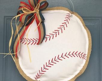 Fabric and Burlap Baseball Door Hanger