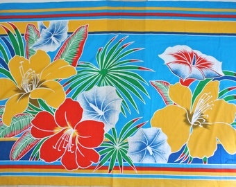 """vtg 80s JACQUES ROLLET Tropical floral cotton Pareo scarf 43"""" x 62"""" multi color"""