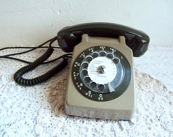 "Vintage French ROTARY DIAL TELEPHONE, with ""Mother in Law"" Listener, Light and Dark Brown, from 1978."