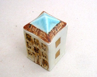Miniature House , Aqua White And Gold, Gold Squares ,,Architecture , Ceramic Sculpture