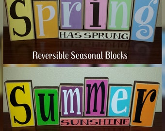 NEW NEW NEW Reversible Seasoneal Blocks For Every Occasion! 6 Letters