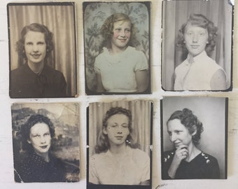 Small collection of Vintage Antique Photo booth Female Photos Handtint Color and Sepia Tone