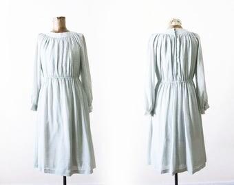 Mint Green Dress / Vintage Mint Long Sleeve Dress / 80s Dress / Spring Easter Sundress / Small