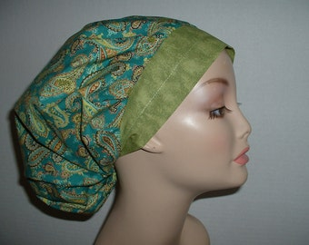 Jade Green Paisley Bouffant Scrub Hat OR Surgical cap St Patricks Day