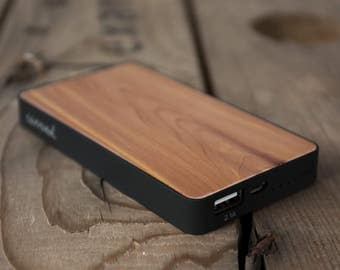 Cedar Power Bank - 6000mAh -  USB 2.1amp Fast Charge Portable Battery Pack with Natural Wooden Inlay (Charges phones, tablets & more)