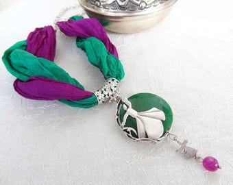 Whirling Dervish Necklace,Semazen Frame Necklace,Turkish Jewelry,Green Agate Necklace,Green Purple Silk Necklace,Sufi,Elegant,Mother's Day