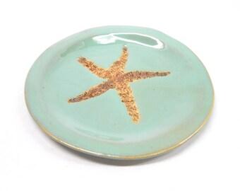 Starfish Plate Starfish Pottery Soap Dish Ceramic Spoon Res, Pottery Soap Dish Pottery Plate Unglazed Starfish Impression in Turquoise