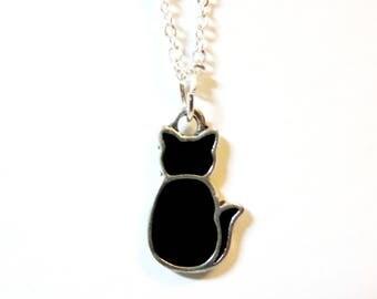 Black cat necklace -Cat Moon Necklace -black Cat earrings --silver Cat Moon earrings  - cats Necklace--sale