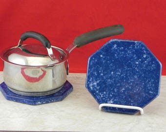 hot plate/trivate/ceramic/functional/gift/made in USA/blue/kitchen utensil/kitchen tile/stoneware