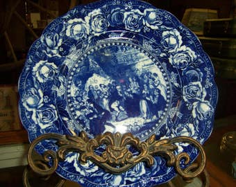 ROSE PLATE with 1800's PEOPLE