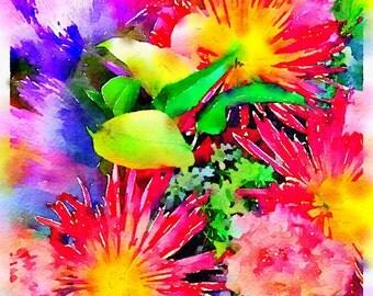 Watercolor Print - Floral - Chrysanthemum bouquet