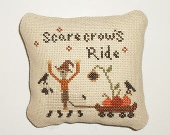Completed Cross Stitch Primitive Fall Pinkeep Tuck
