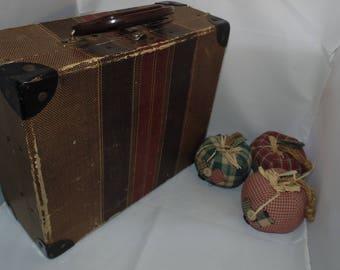 "Vintage Tweed Striped Luggage Child's suitcase board Train case 11.5"" x 9.5""x 4.5"""