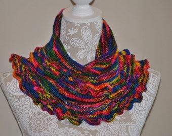 Rainbow Ruffled Scarf Shawlette ~ Hand Knit Ruffled Shawl ~ Multi Colored Shawlette ~ OOAK gift item ~ Funky Colored Scarf