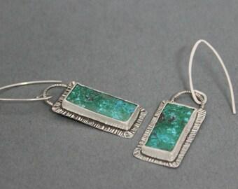 Rustic Earrings, Green Stone Earrings, Boho Dangle Earrings, Gypsy Jewery, Blue Green Earrings, Metalwork Jewelry