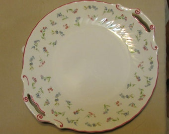 Royal Worcester handled cake plate Forget me not pink white made in england 1986
