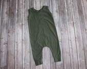 Baby Romper,Olive Harem Romper, Toddler Romper,Baby Harem Pants, Green Harem Pant