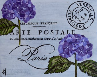 "Postcard From Paris, Fleurs du Balcone, Hydrangea 8"" x 10"" x 3/4"""