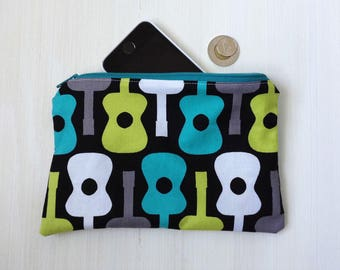 Guitars Pattern Coin Pouch - Zippered - Medium Size - Lined -Coin Purse - Guitar Picks Pouch - Musicians Gift Idea - Phone Pouch - Mod