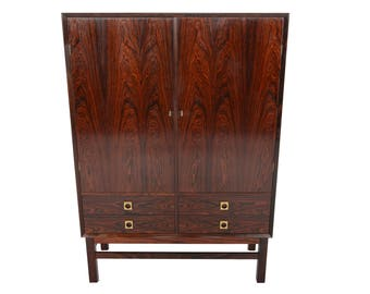 Danish Mid Century Modern Tall Brazilian Rosewood Credenza Cupboard by Brouer Møbelfabrik