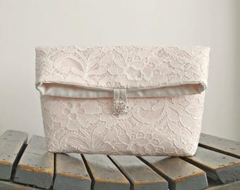Blush Pink/Ivory Lace Foldover Bridal Clutch with Crystal Button, Lace Bridesmaid Purse, Blush Wedding Clutch
