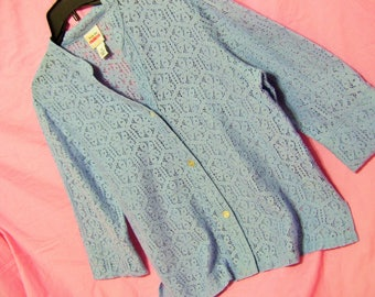 Blue Lace, Blouse, Open Weave, Classic Button Front, Size 14, Office, Church Resort Cruise, Summer, Modest Dressing