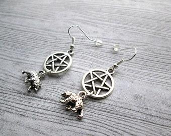 Goddess Artio Earrings, Bear totem earrings, Bear spirit guide, Pagan earrings, Wiccan earrings, Celtic Goddess, Celtic Bear goddess earring
