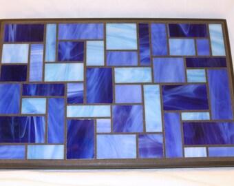 Blue Glass Mosaic Casserole Sized Trivet