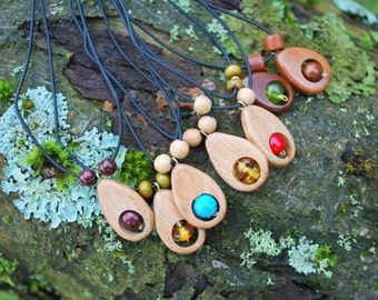 Wooden Drops Minimalist Choker Pendants, Juniper Ash Cherry Amber Turquoise Amulet, For Her Him, Eco Friendly Woodland Pendant, Boho Pendant