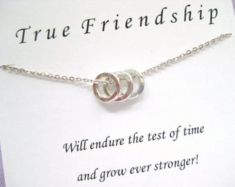 Three Best Friends Necklace. 4 Best friends Jewelry. 3 BEST FRIENDS Necklace. Inspirational Jewlery. 30th BIRTHDAY Gift.  Bridal Party