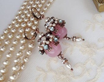Marie Antoinette Earrings in Vintage Style. Long Romantic Earrings in Pastel Colors. Boho Chic Assemblage Rhinestone Jewelry. Baroque Rococo