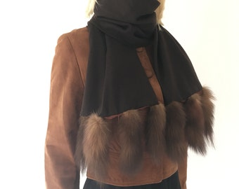 Brown wool scarf with fur tails | vintage 50s fur scarf | 50s winter accessories