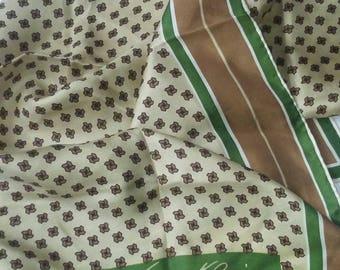 Anne Klein Ivory Bronze Green Abstract Silk Scarf