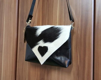 "KUHIE®, cow fur bag ""Tom"" black leather and black and white cowhide"