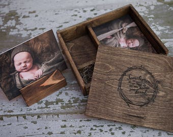 set of 10 - 5x5 Wood print box with photo stand and enough space for 5x5 prints and usb drive - (spanish moss included)