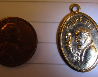 Beautiful Vintage Brass Medal of Padre Pio -  circa 1980s