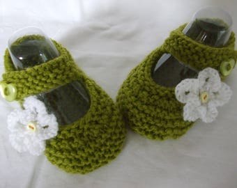 Lime Green Mary Jane hand knitted baby girl shoes newborn to 3 months
