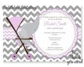 Purple Elephant Baby Shower Invitation | Baby Elephant Shower Invitation | Purple Baby Shower Invite | Little Peanut Shower Invitation