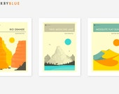Set of 3 NATIONAL PARK POSTERS, Giclée Fine Art Prints, Colorful, Minimal Wall Art
