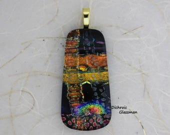 Dichroic Glass Pendant Jewelry Cabochon fused 006