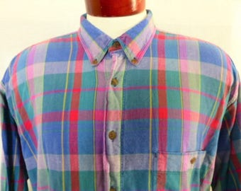 vintage 80s 90's Levi's Dockers madras plaid mutlicolor blue red pink purple long sleeve button down collar shirt unisex button up XLT