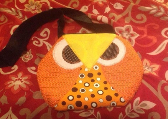 Orange Owl Purse